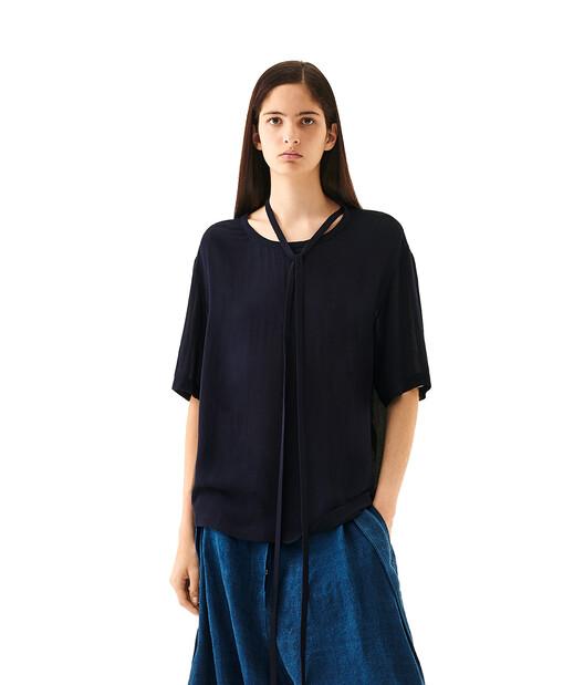 LOEWE Tie T-Shirt Top Navy Blue/Black front