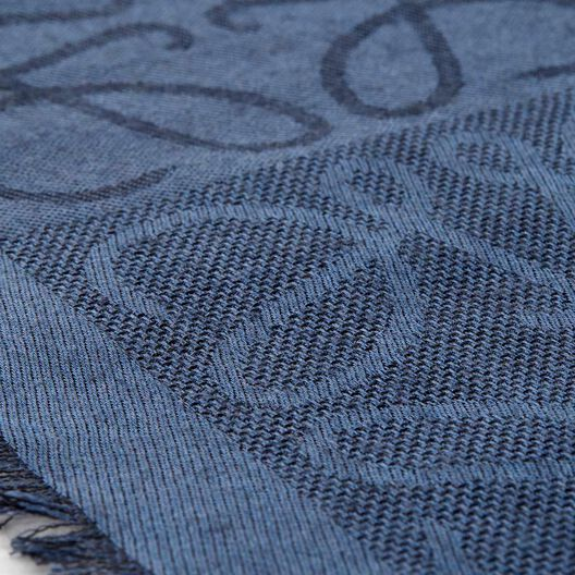 LOEWE 45X200 ダメロ スカーフ indigo blue all