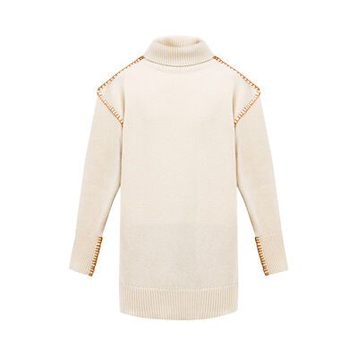 LOEWE Blanket Stitch Turtleneck Off-White front