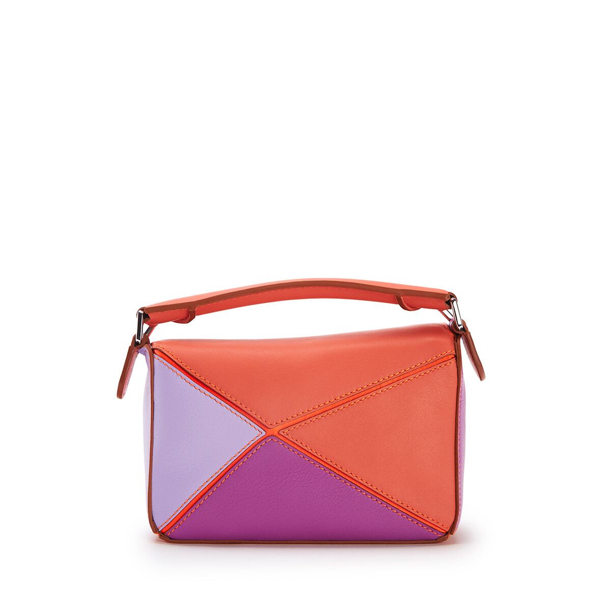 LOEWE Mini Puzzle Bag In Classic Calfskin Grapefruit/Mauve front