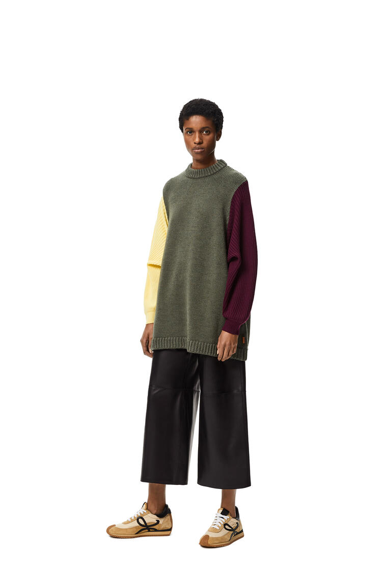 LOEWE Cropped elasticated waist trousers in nappa Black pdp_rd
