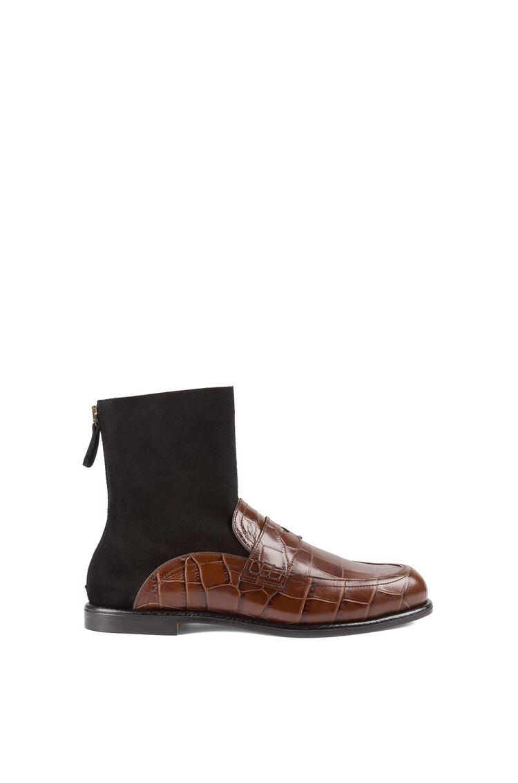 LOEWE Sock boot loafer in calfskin Brown/Black pdp_rd