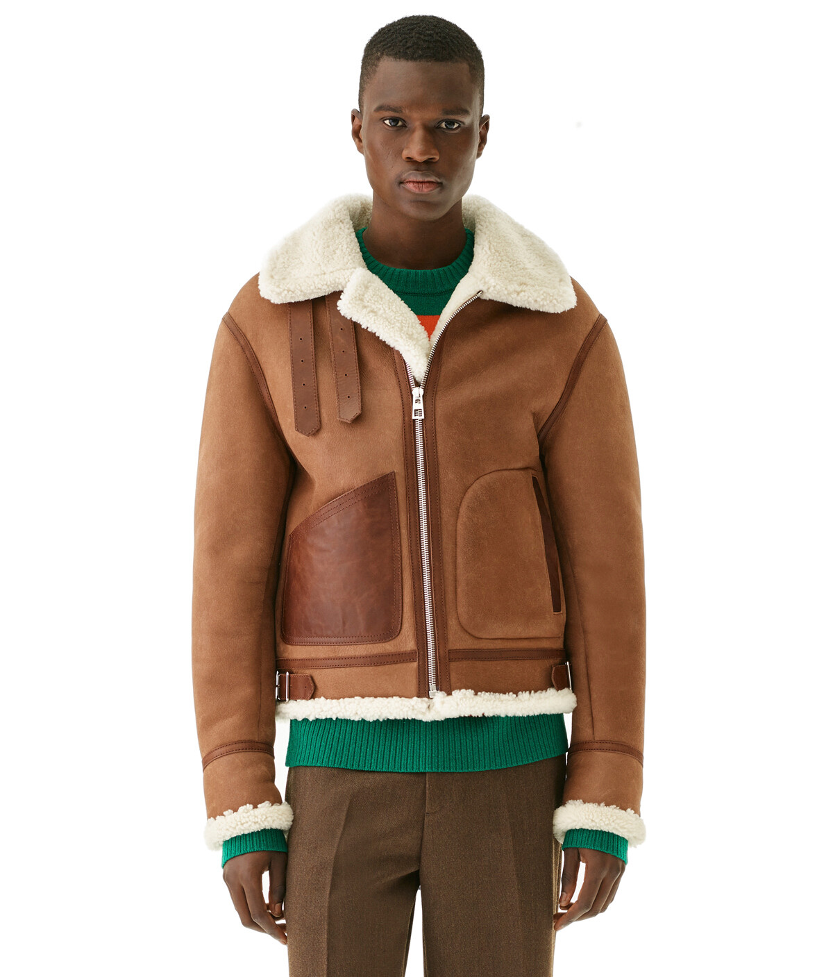 LOEWE Shearling Aviator Dark Brown front