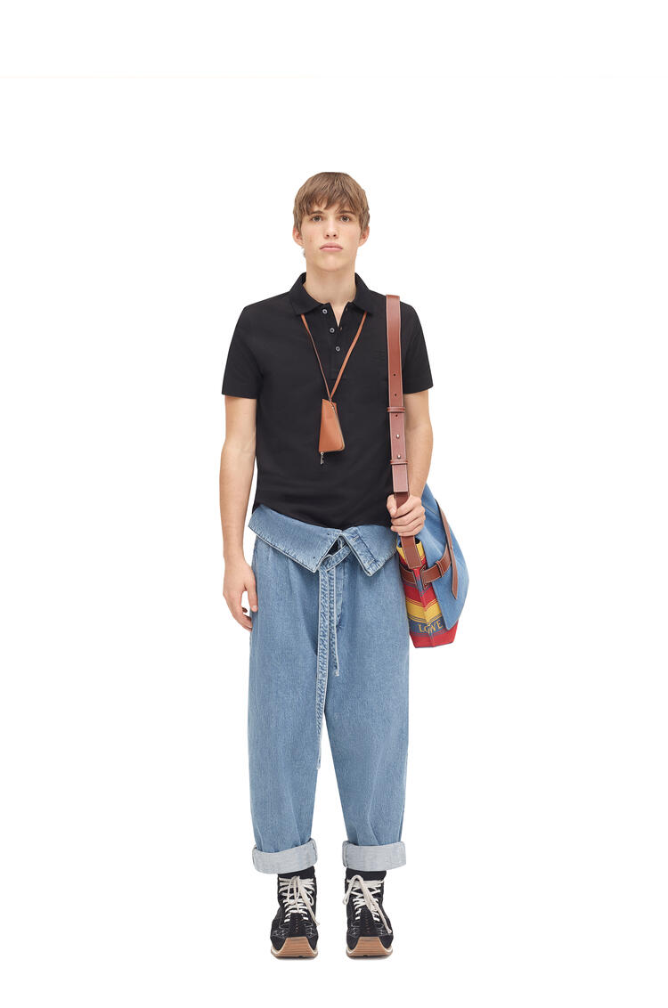 LOEWE Anagram embroidered polo in cotton Black pdp_rd