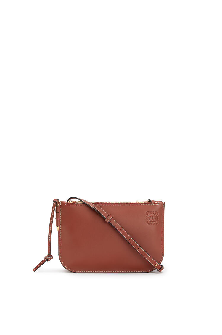 LOEWE Gate Double Zip pouch in soft calfskin Rust Color pdp_rd