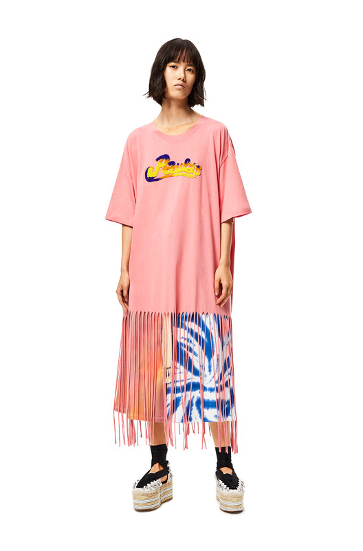 LOEWE Fringed Oversize T-Shirt In Cotton Rose front