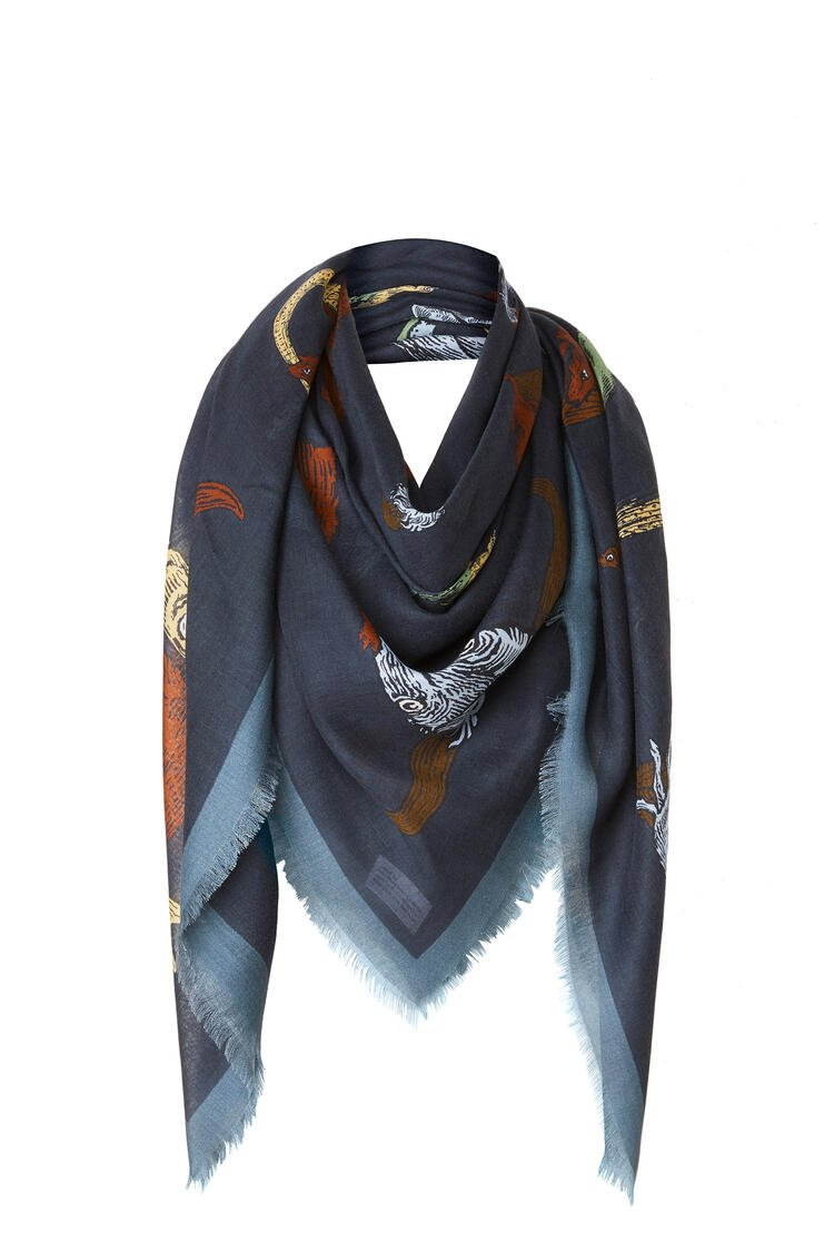 LOEWE 140 x 140 cm alphabet scarf in modal and cashmere 海軍藍 pdp_rd
