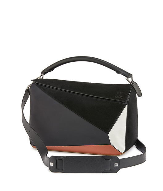LOEWE Puzzle Trainers Large Bag Black/Tan front