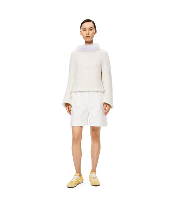 LOEWE Feather Trim Sweater Blanco/Morado front