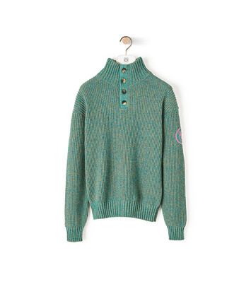 LOEWE Eln Melange High Neck Sweater Emerald Green front