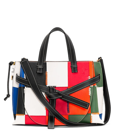 LOEWE Gate Top Handle Patchwork Bag Multicolor front