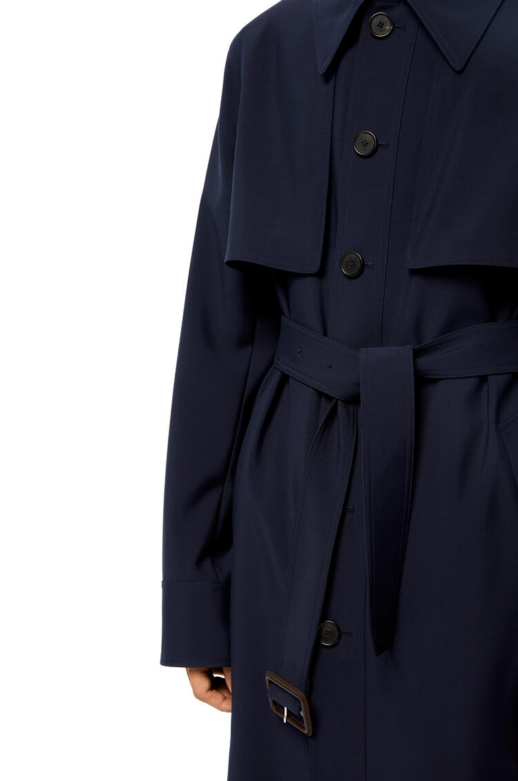LOEWE Belted coat in cashmere Navy Blue pdp_rd