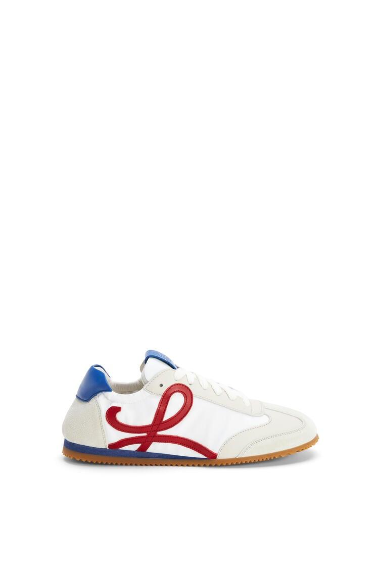 LOEWE Zapatilla Ballet runner en nailon y piel de ternera Blanco Suave/Cereza/Azul Royal pdp_rd