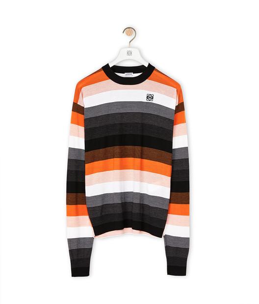 LOEWE Stripe Anagram Sweater Black/Orange front