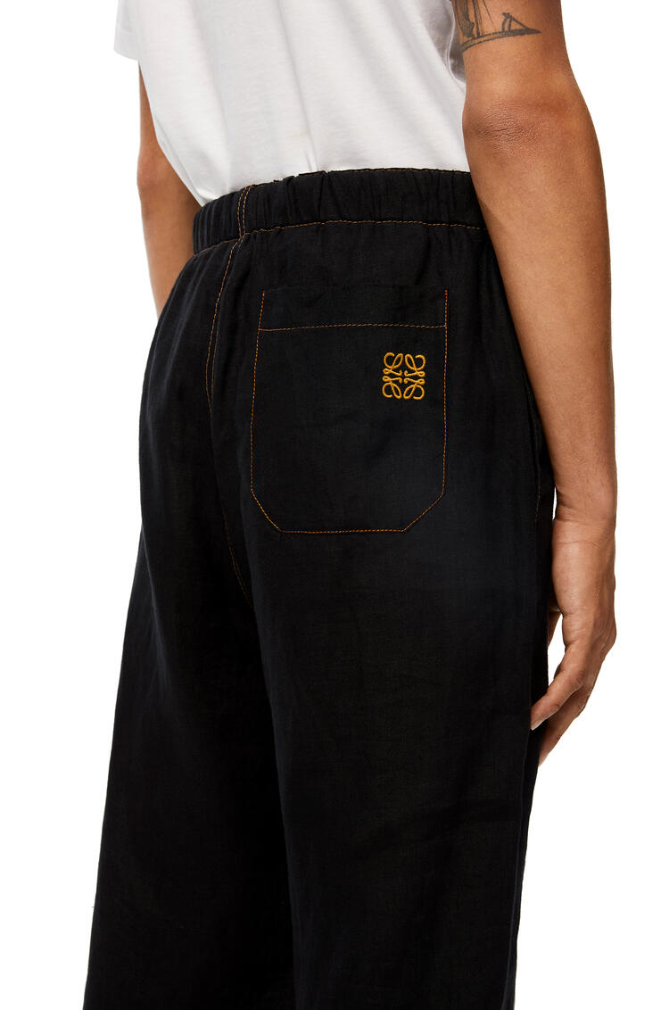 LOEWE Drawstring trousers in linen Navy Blue/Black pdp_rd