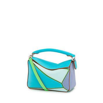 LOEWE Mini Puzzle Bag In Classic Calfskin Lagoon Blue/Blueberry front