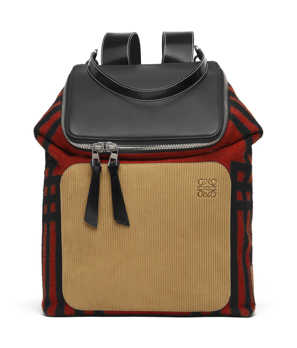LOEWE Goya Grid Backpack Scarlet Red/Black front
