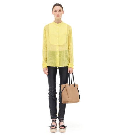 LOEWE Organdy Mao Collar Bib Shirt Yellow front