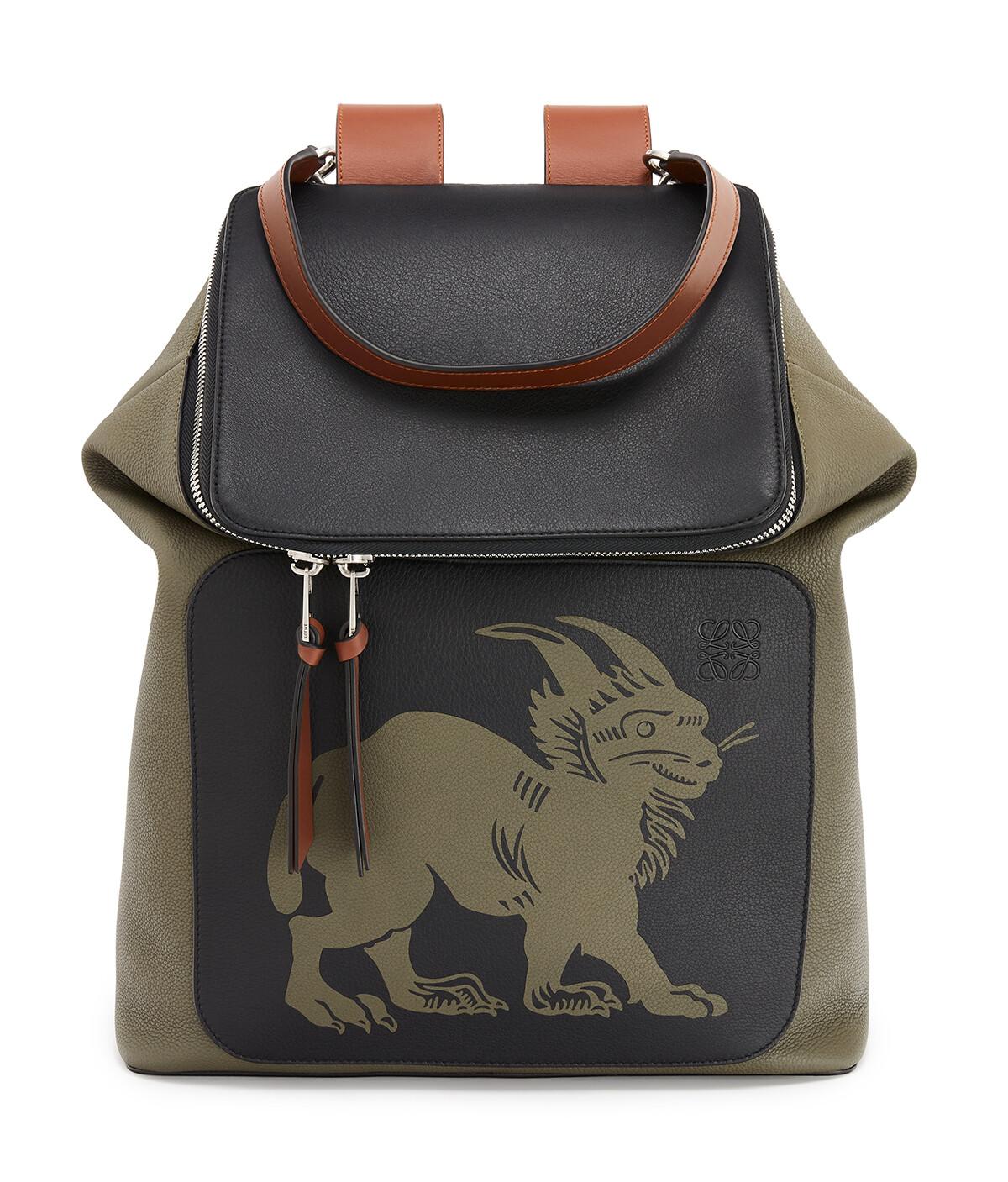 LOEWE Goya Herald Backpack Khaki Green/Black front