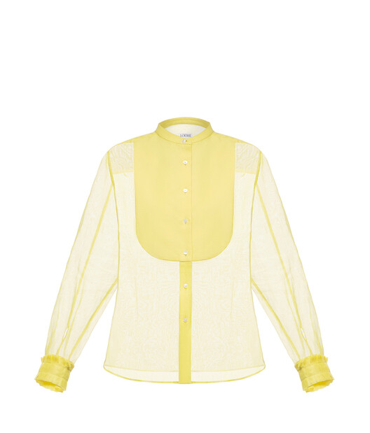 Organdy Mao Collar Bib Shirt