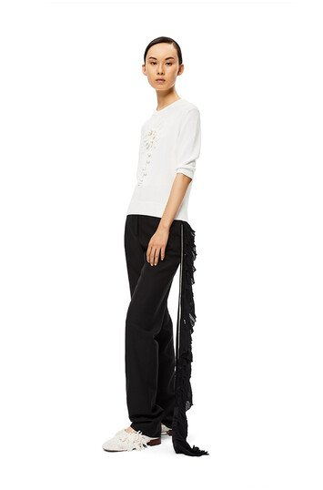 LOEWE Crystal Side Strap Trousers 黑色 front