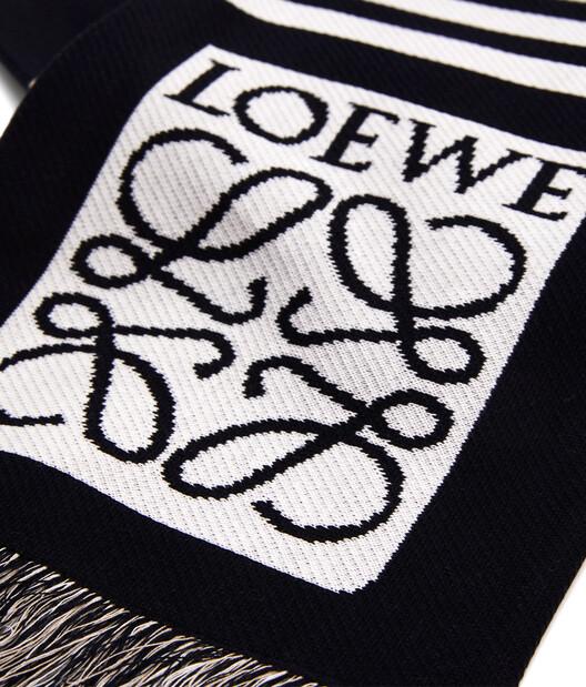 LOEWE 18X135 Scarf Loewe Jacquard beige/navy blue front