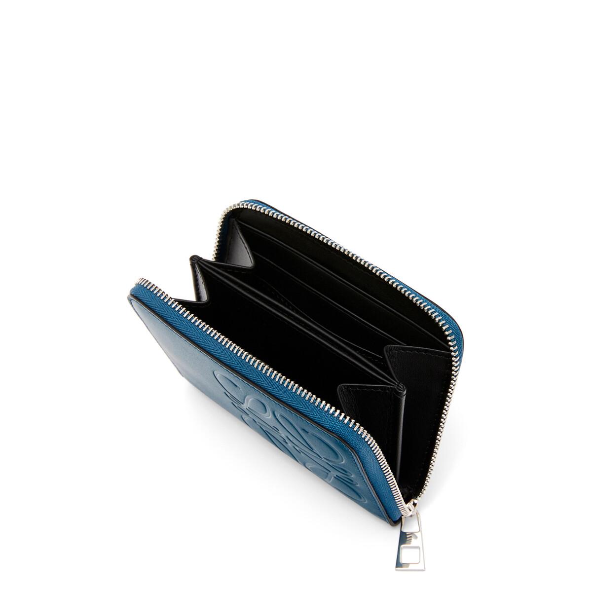 LOEWE Brand 6 Card Zip Wallet 靛藍 front