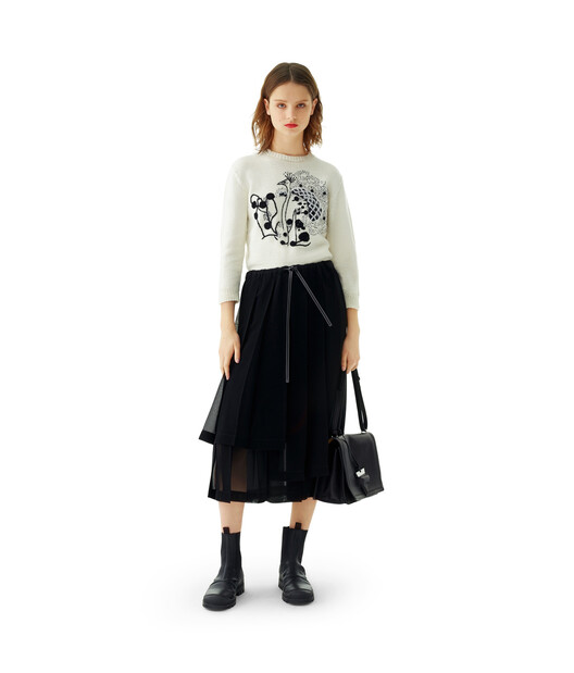 LOEWE Pleated Skirt Black front