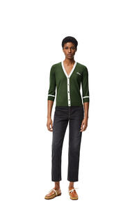 LOEWE LOEWE lurex embroidered cropped cardigan in wool Khaki Green/White pdp_rd