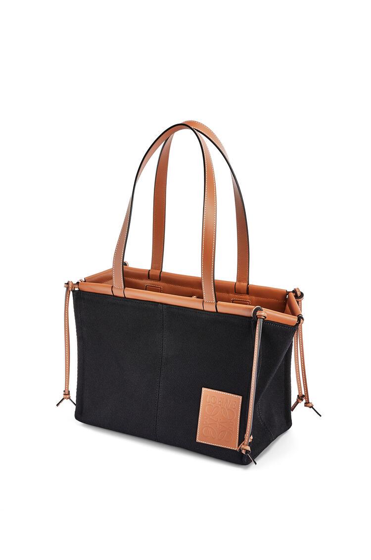 LOEWE Small Cushion Tote bag in canvas and calfskin Black/Tan pdp_rd