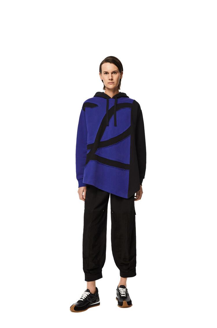 LOEWE 超大号棉质和羊毛L标志连帽衫 蓝色/黑色 pdp_rd