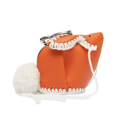 LOEWE Bunny Macrame Charm Orange/White front