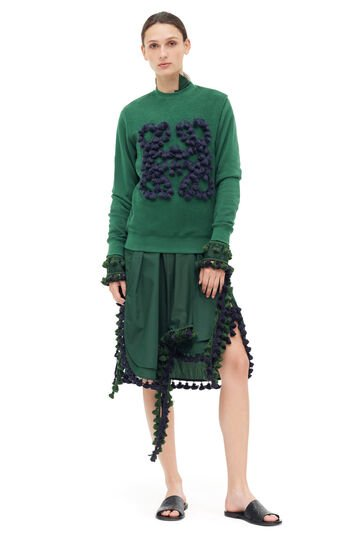 LOEWE Shirtdress Pompons Dark Green front