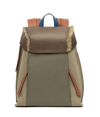 LOEWE T Backpack Small Khaki Gr/Choc Brown/Tan front