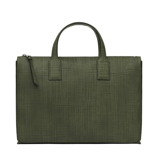 LOEWE Goya Simple Briefcase Khaki Green front