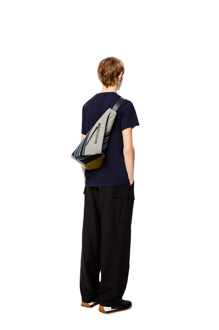 LOEWE Small Anton Backpack in striped textile and calfskin Blue/Black pdp_rd