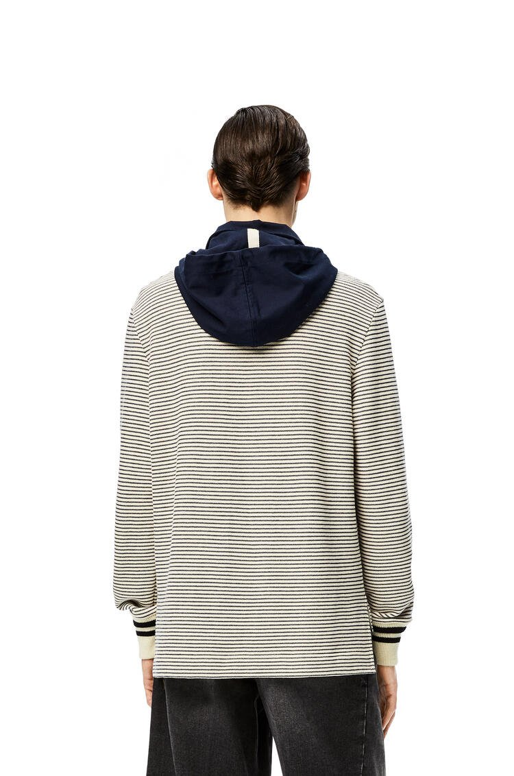 LOEWE Hooded polo in striped cotton Ecru/Navy Blue pdp_rd