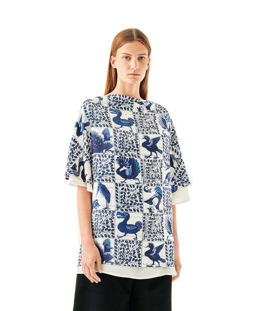 LOEWE Silk Print Scarf Top Animals Blue/White front