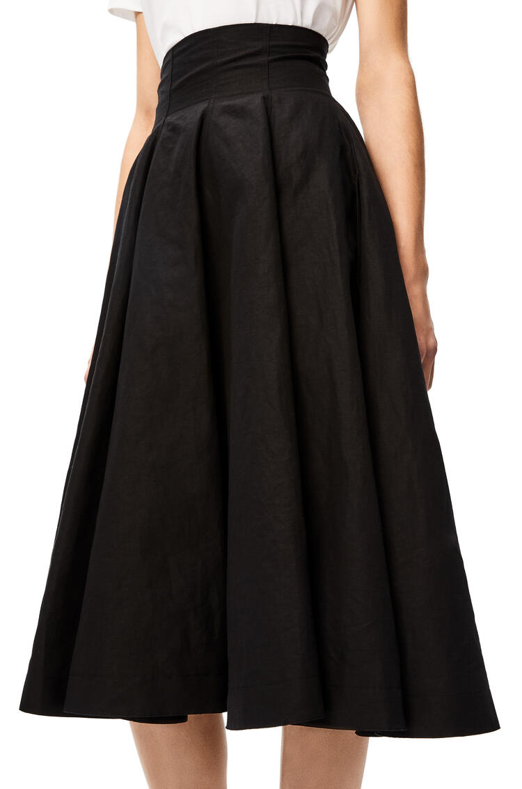 LOEWE High waisted flare skirt in cotton and linen Black pdp_rd