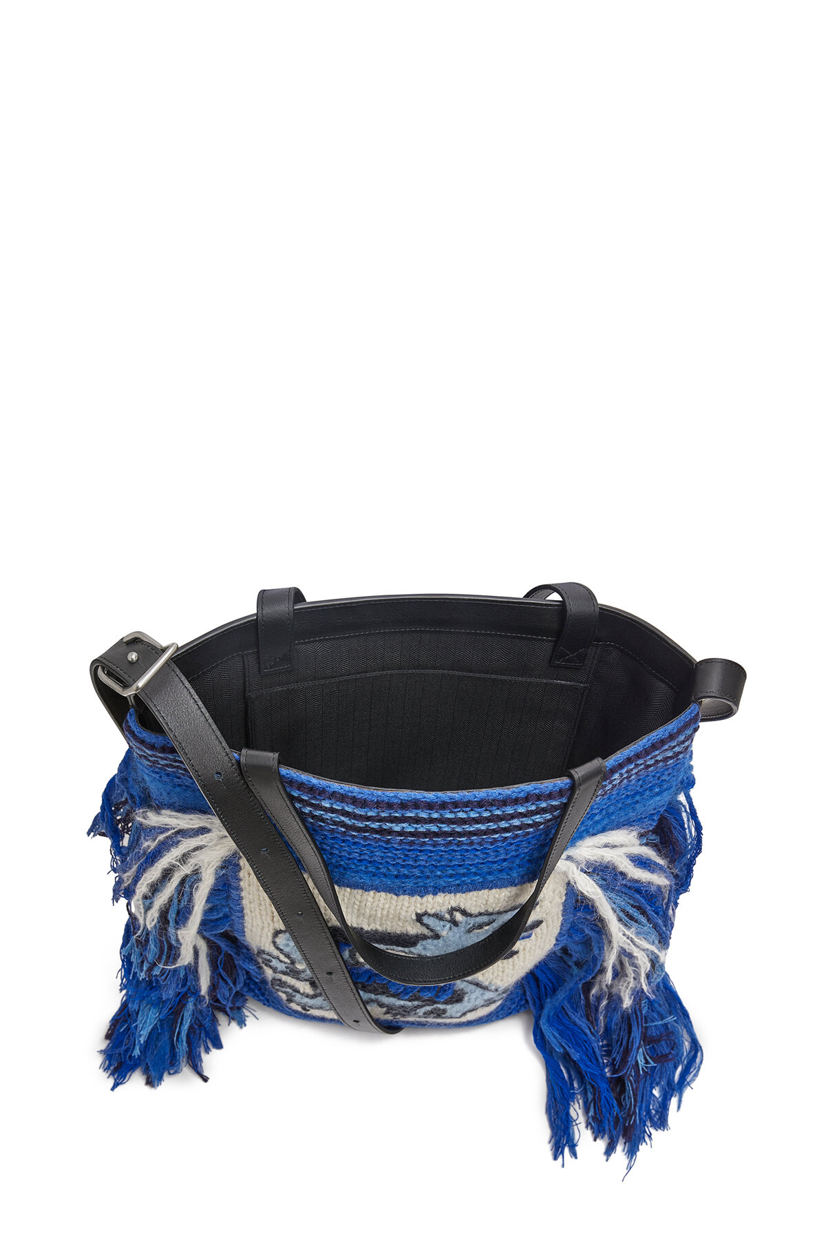 LOEWE Vertical Tote Dragon Knit Bag Blue front