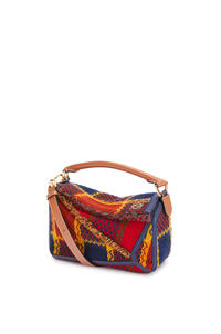 LOEWE Small Puzzle bag in tartan and calfskin Red pdp_rd