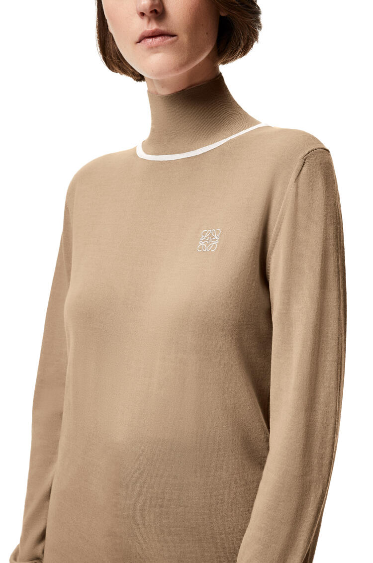 LOEWE Anagram embroidered polo neck sweater in cashmere Camel pdp_rd