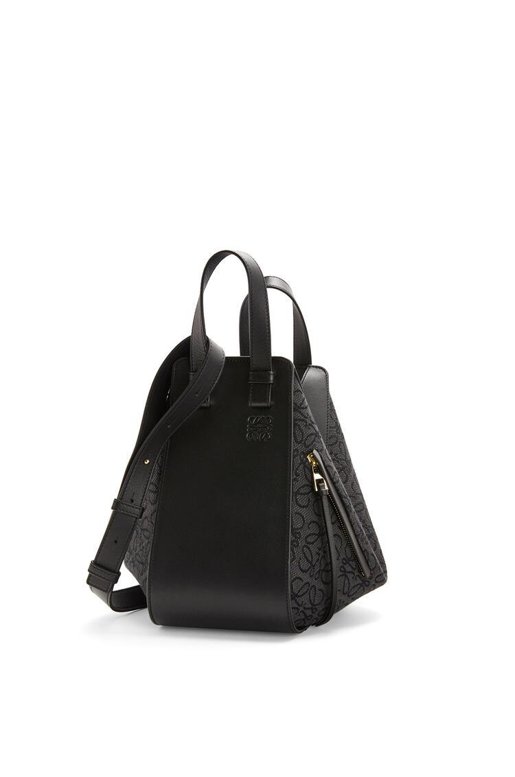 LOEWE Small Hammock bag in Anagram jacquard and calfskin Anthracite/Black pdp_rd