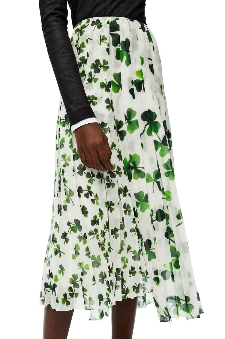 LOEWE Print pleated skirt in shamrock polyester White/Green pdp_rd