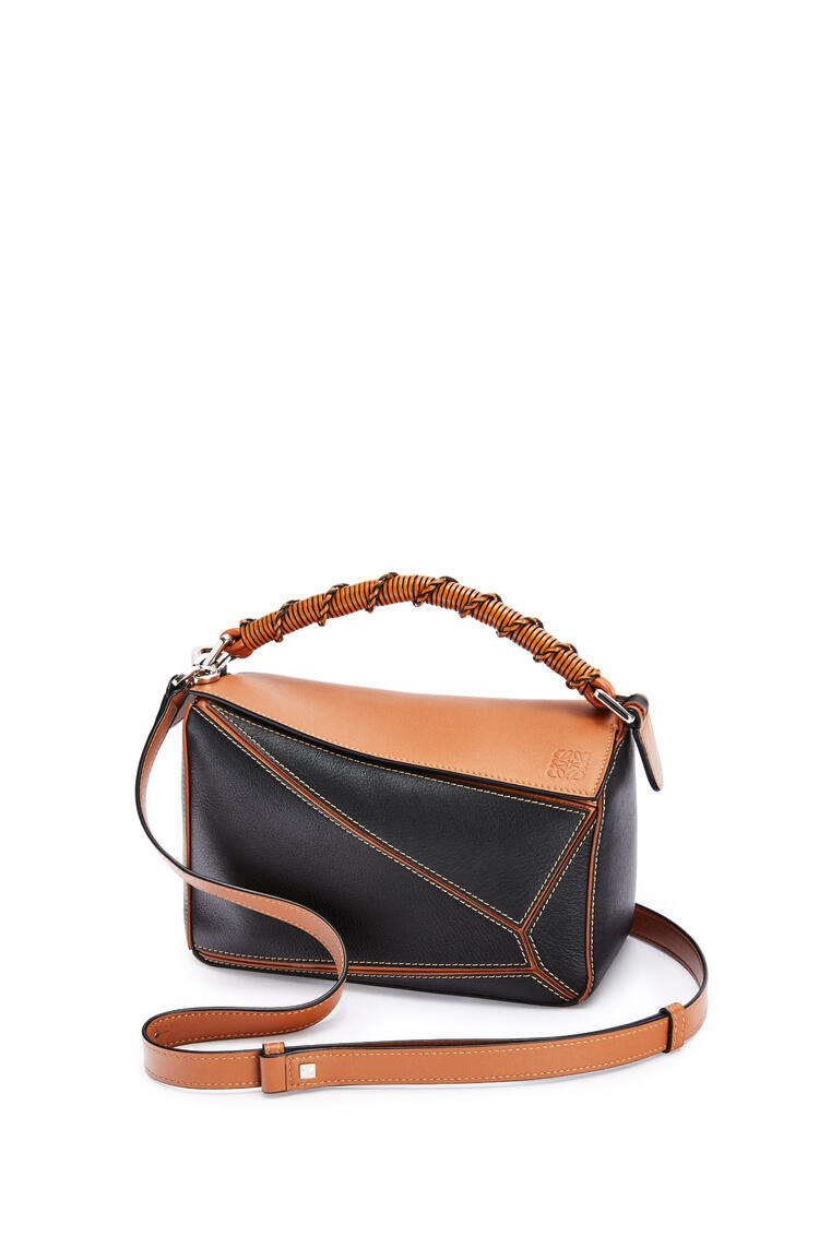 LOEWE Small Puzzle Craft bag in classic calfskin Black/Tan pdp_rd