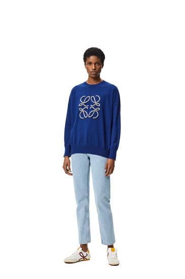 LOEWE Anagram embroidered sweater in wool Navy/Indigo Dye pdp_rd