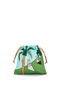 LOEWE Small Easter Island Drawstring Pouch in canvas Mint/Multicolor pdp_rd