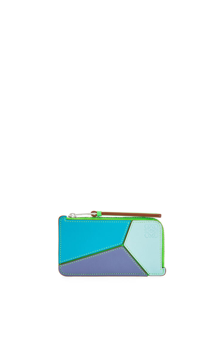 LOEWE Puzzle Coin Cardholder In Classic Calfskin Lagoon Blue/Blueberry pdp_rd