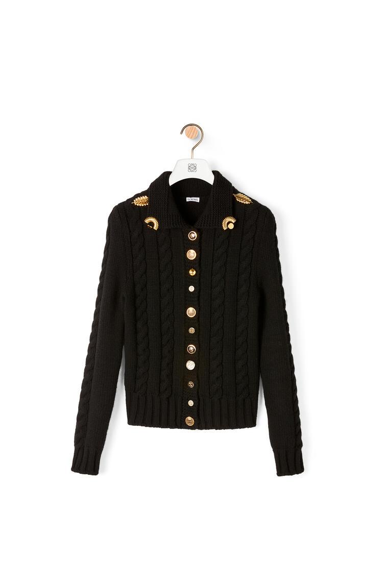 LOEWE Gold button cardigan in wool Black pdp_rd