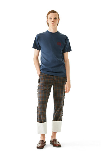 LOEWE Check Patch Fisherman Jeans Gris/Marron front